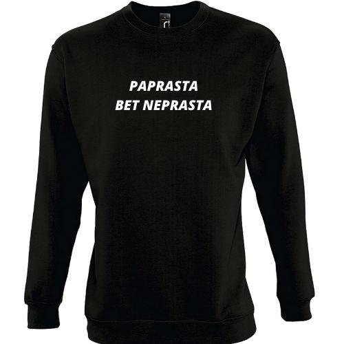 Džemperis su užrašu PAPRASTA BET NEPRASTA
