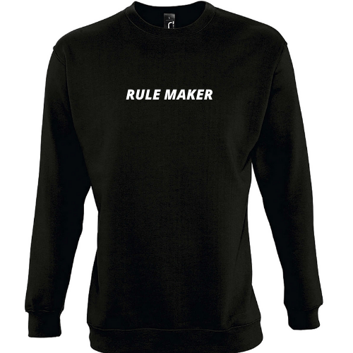 Džemperis su užrašu RULE MAKER