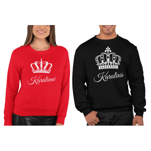 Džemperiai poroms su užrašu Karalius ir Karalienė su karūnomis