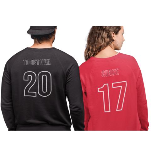 Džemperiai poroms su užrašu Together since 2017