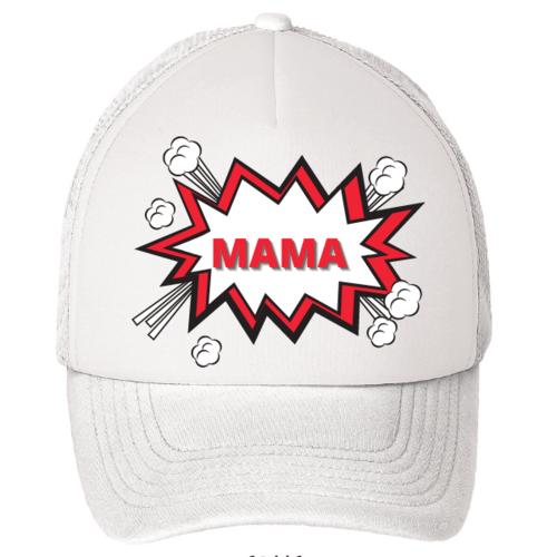 """Kepuraitė su snapeliu """" Superinė mama """" balta"""