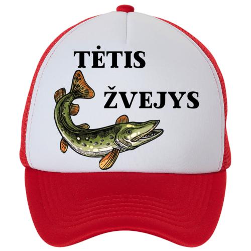 Kepuraitė su snapeliu - tėtis žvejys, raudona