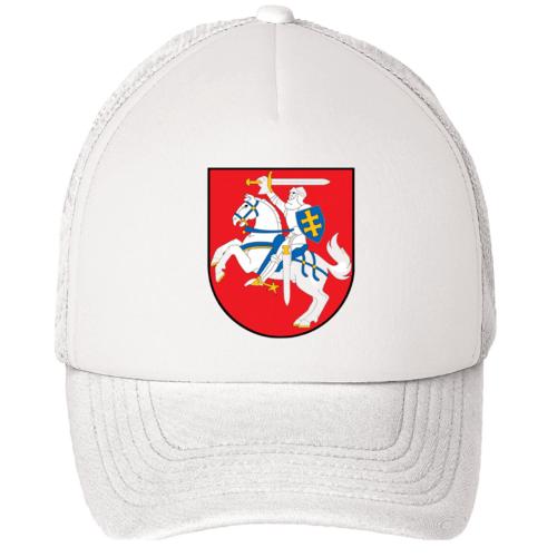 Kepuraitė su snapeliu - su Lietuvos herbu, balta