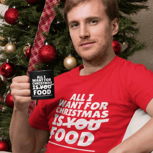 Kalėdiniai marškinėliai All I want for christmas is FOOD