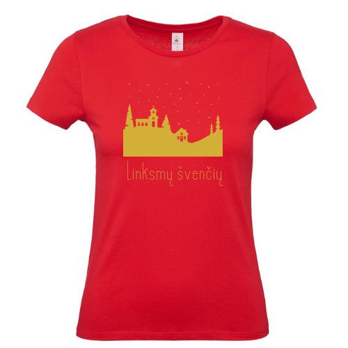 Moteriški Kalėdiniai marškinėliai Linksmų švenčių su miesteliu