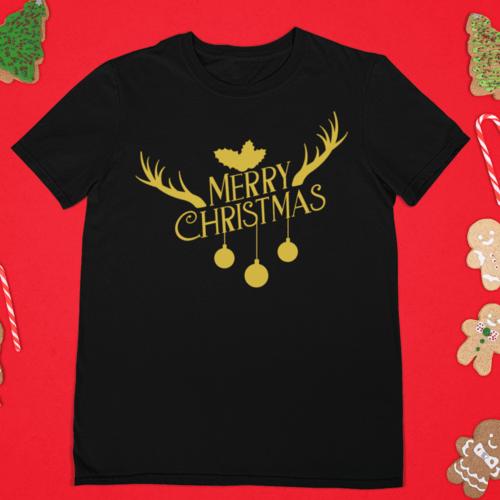 Kalėdiniai marškinėliai Merry christmas Su ragais ir bumbulais