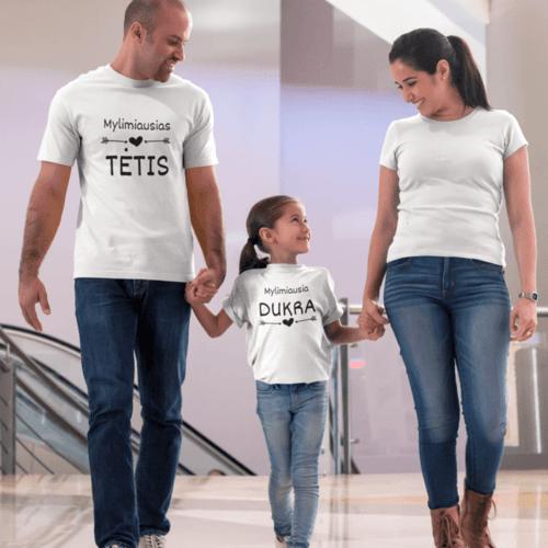 Marškinėlių komplektas tėčiui ir vaikui - Mylimiausias tėtis ir mylimiausia dukra, balti