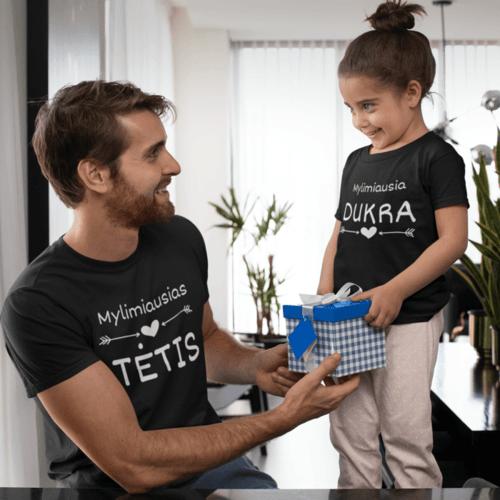 Marškinėlių komplektas tėčiui ir vaikui - Mylimiausias tėtis ir mylimiausia dukra, juodi