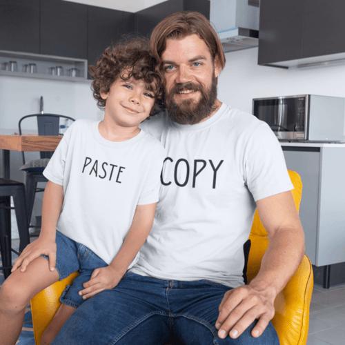 Marškinėlių komplektas tėčiui ir vaikui - Copy ir paste, balta