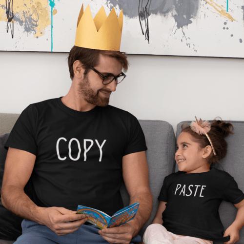 Marškinėlių komplektas tėčiui ir vaikui - Copy ir paste, juodi