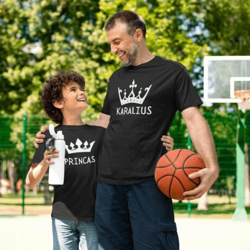 Marškinėlių komplektas tėčiui ir vaikui - Karalius ir princas, juodi