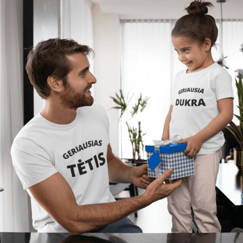 Marškinėlių komplektas tėčiui ir vaikui - Geriausias tėtis ir geriausia dukra, balti