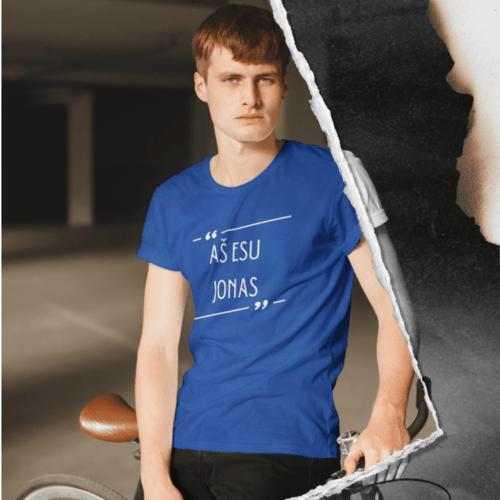 Marškinėliai vyrams su užrašu - Aš esu Jonas, mėlyni