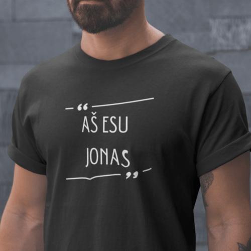 Marškinėliai vyrams su užrašu - Aš esu Jonas, juodi