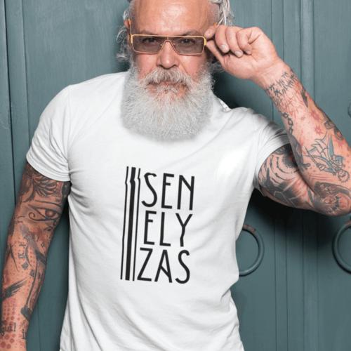 Marškinėliai vyrams su užrašu - Senelyzas, balti