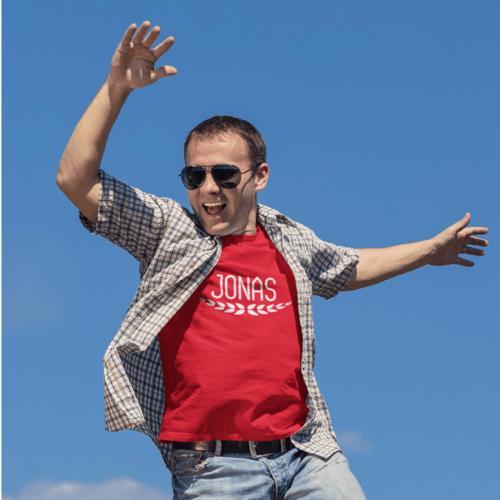 Marškinėliai vyrams su užrašu - Jonas, raudoni