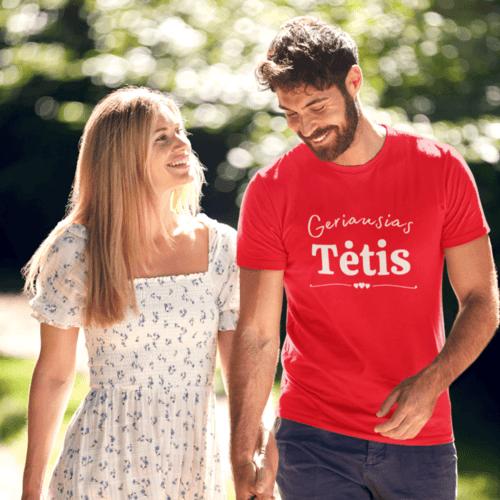 Marškinėliai vyrams su užrašu - Geriausias tėtis , raudoni