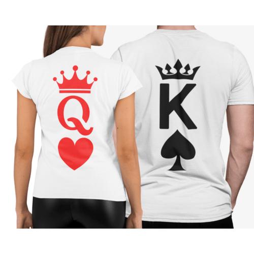 Marškinėliai poroms su karaliaus ir karalienės simboliais nugaroje