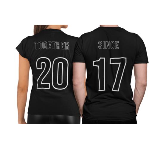 Marškinėliai poroms Together since su jūsų norima data