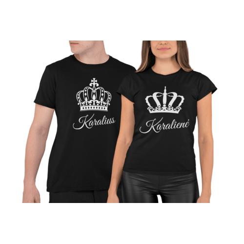 Marškinėliai poroms su užrašu Karalius ir Karalienė