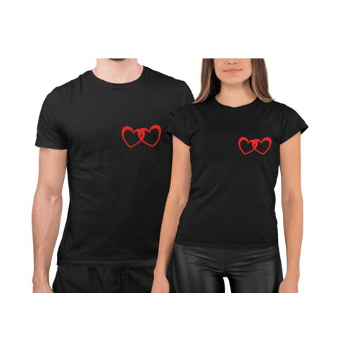 Marškinėliai poroms su dviguba širdele