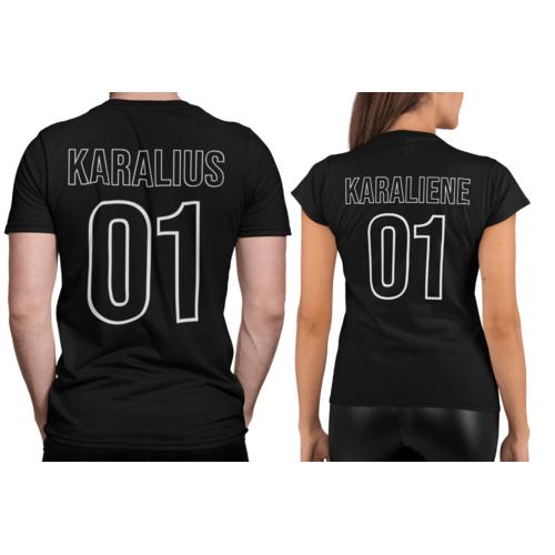 Marškinėliai poroms su užrašu KARALIUS 01 ir KARALIENĖ 01