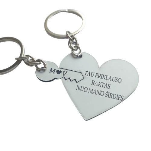 Graviruota balta širdis su raktu