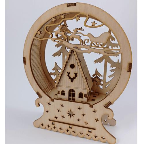 Medinė dovana Kalėdų miestelis dekoracija