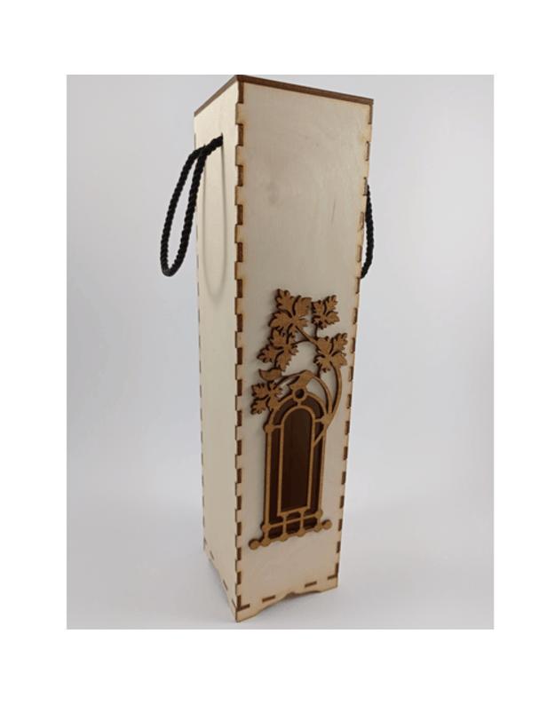 Medinė dovana vyno butelio dėklas