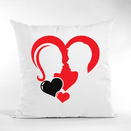Dekoratyvinė pagalvė Su pora širdyje