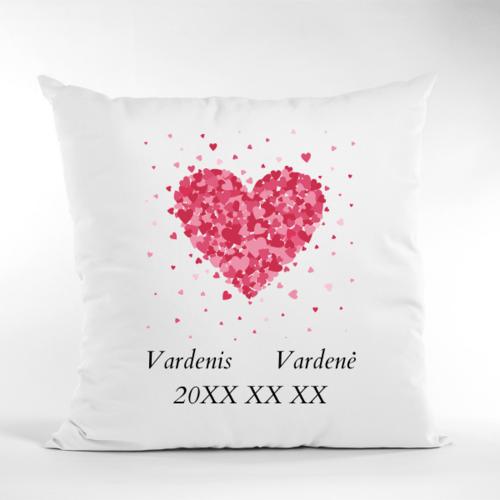Dekoratyvinė pagalvė Su mylimųjų vardais ir data