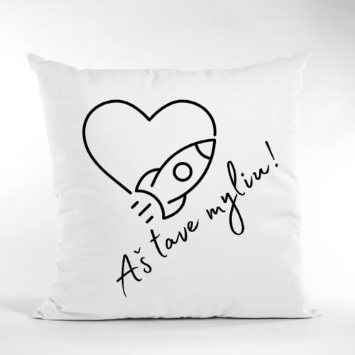 Dekoratyvinė pagalvė Aš tave myliu su raketa