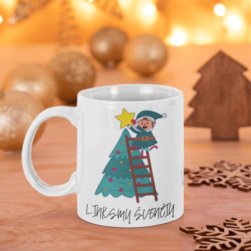 Puodelis Linksmų švenčių su elfu