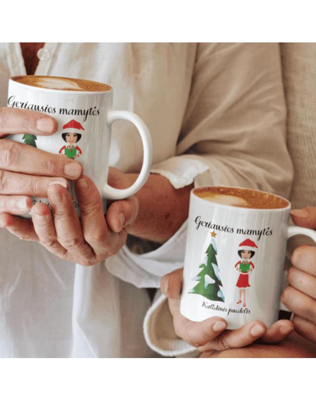 Puodelis Geriausios mamytės kalėdinis puodelis