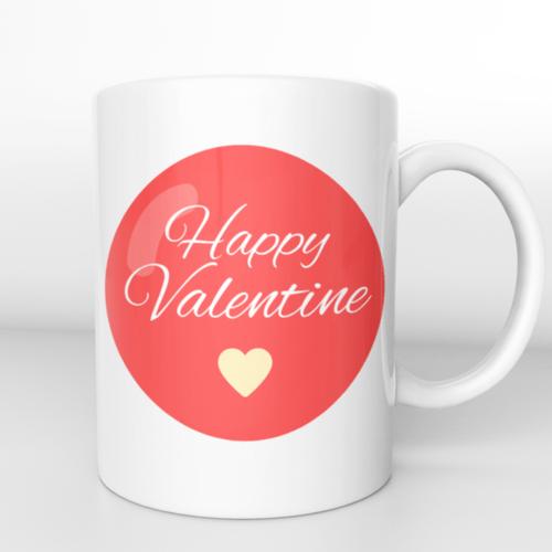 Puodelis Happy valentine su širdele