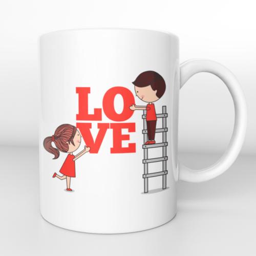 Puodelis Love su pora ir kopėčiomis