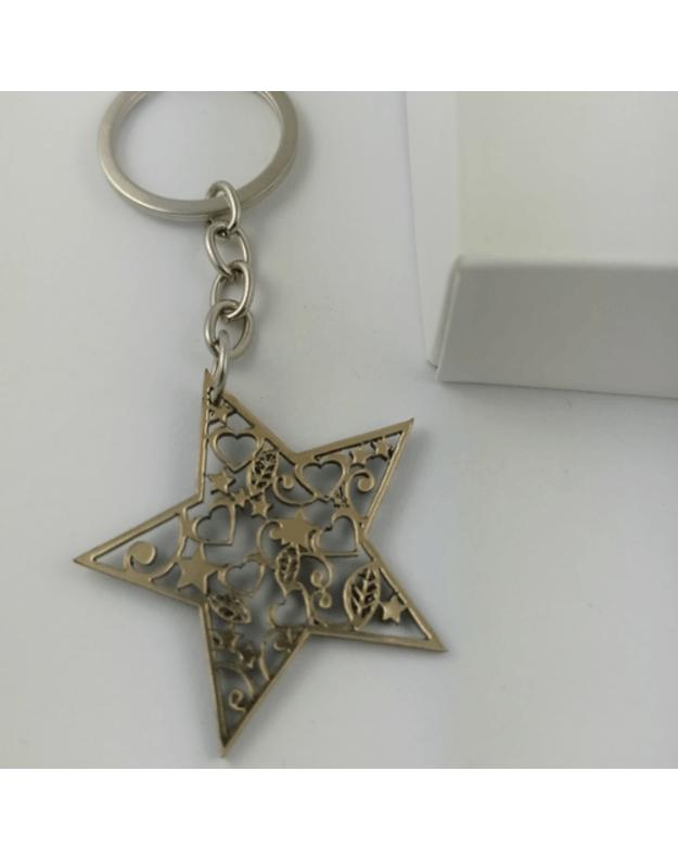 Graviruotas raktų pakabukas auksinė žvaigždė