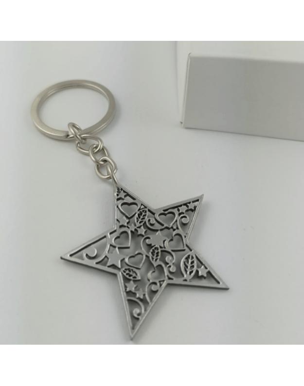 Graviruotas raktų pakabukas kalėdinis žaisliukas žvaigždutė