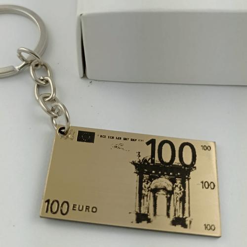 Graviruotas raktų pakabukas auksinis 100 eurų