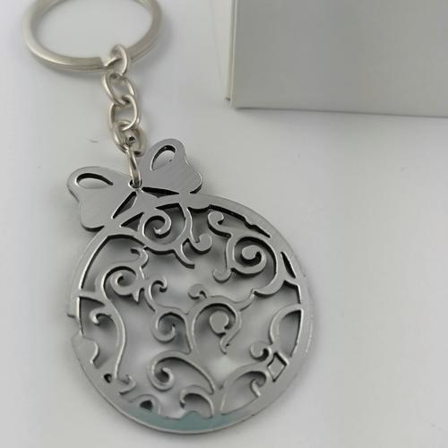 Graviruotas raktų pakabukas sidabrinis kalėdinis žaisliukas