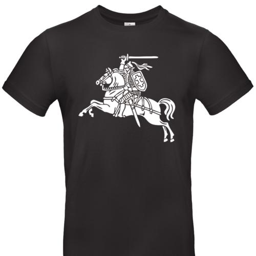 Marškinėliai su senuoju vyčio simboliu, juodi