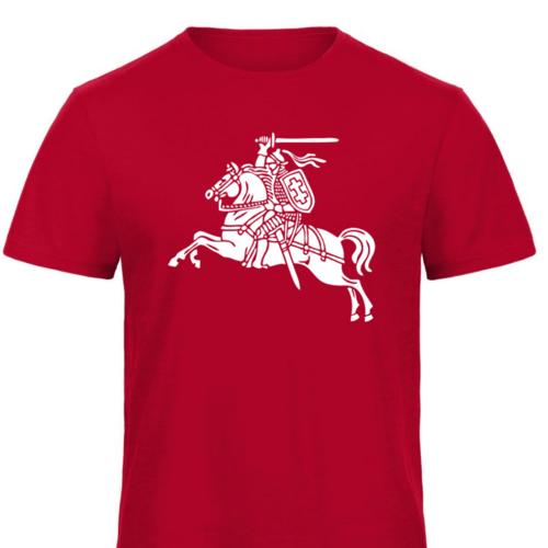 Marškinėliai su senuoju vyčio simboliu, raudoni